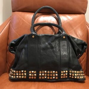 Tory Burch black leather and gold studded handbag